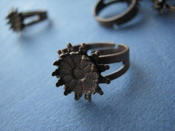 #Adjustable #Ring Base 10 mm Pad and Prongs Antique http://etsy.me/1I77Ooo #jewelry #ring #mount #brass #jewel #gem #bezel #setting #earwire