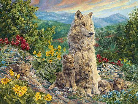 """Lucie Bilodeau """"Волчица  и волчата"""" картина раскраска по номерам, размер 40*50см, цена 750 руб. картина своими руками"""