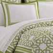 green parish duvet cover, Adler. Love green w/ the blue headboard