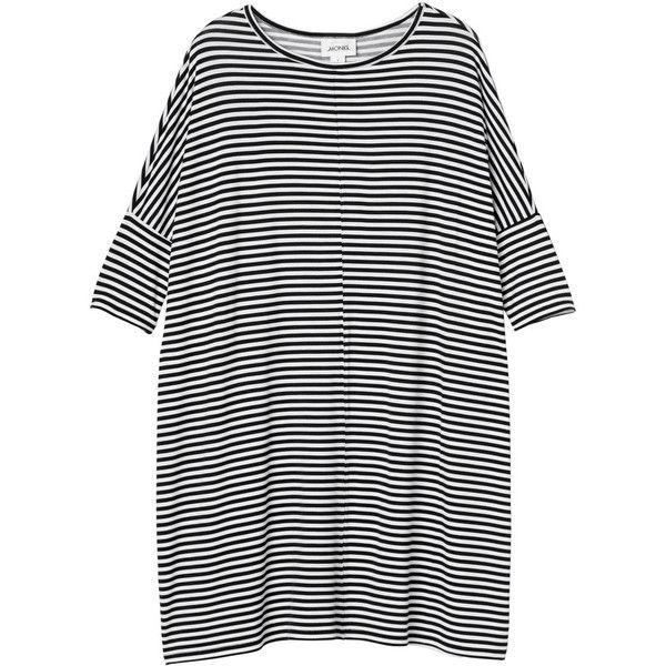 Monki Jonna dress ($28) ❤ liked on Polyvore featuring dresses, tops, vestidos, sleek stripes, striped dress, black stripe dress, kohl dresses, stripe dress and black striped dress