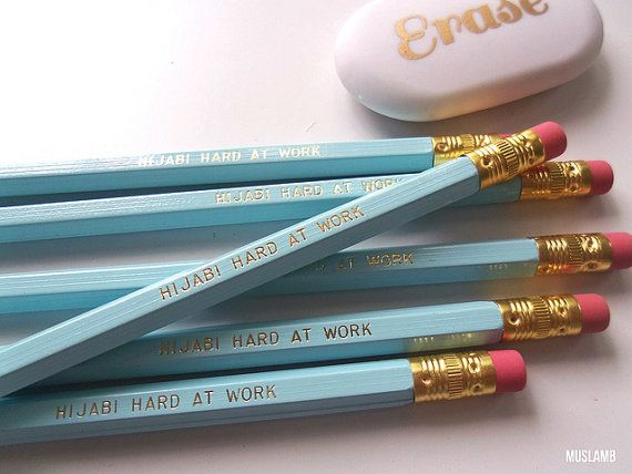 Hijabi Hard at Work Pencils   Pale Canary Blue by muslamb on Etsy, $8.50