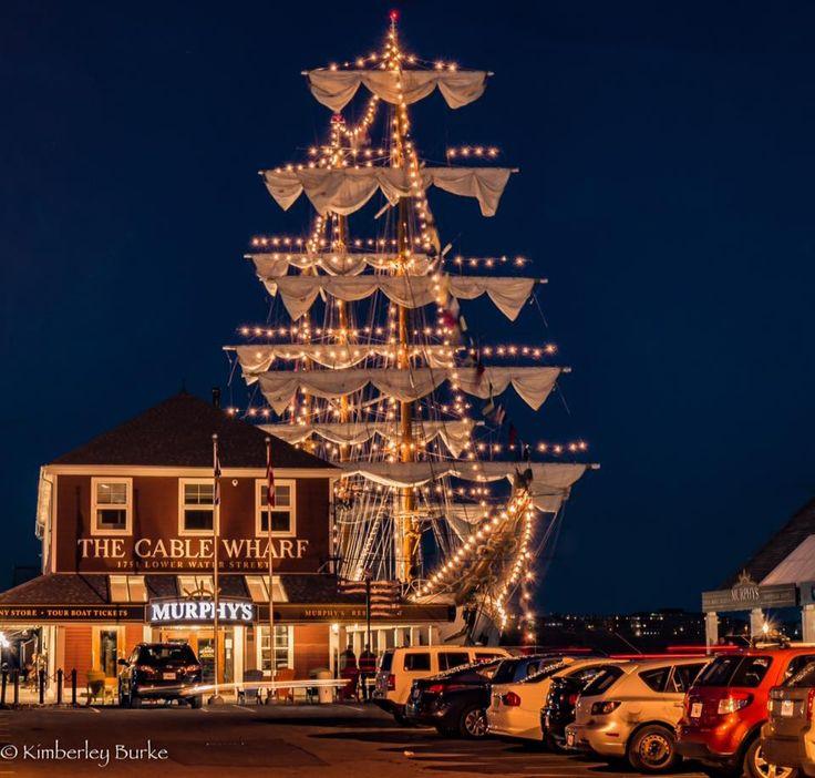 Illuminated Tall Ship in Halifax Harbour, Halifax, Nova Scotia