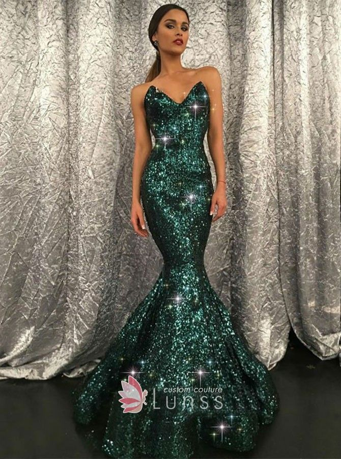 Emerald sequin floor length mermaid flounced long prom gown. Strapless  sweetheart green sequin mermaid long formal dress with sweep train. a08e06384