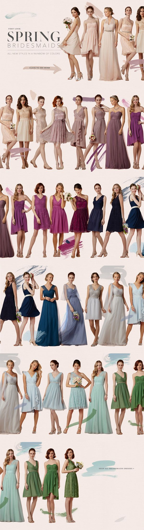 Bridesmaid Dresses in the Colors of the Rainbow | B-Inspired | BHLDN