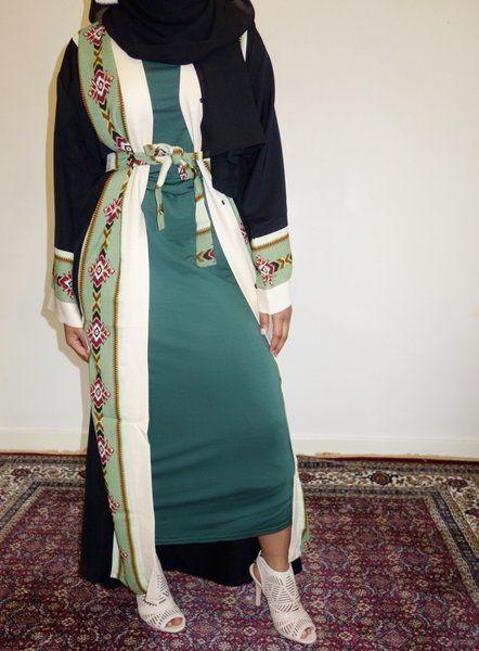Tribal Black and Green Open Abaya | Amal clothing abaya thobe khaleeji hijab jilbab niqaab jewellery