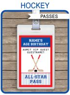 Hockey Party All Star VIP Passes template – red/blue
