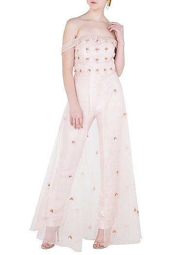 7fd1083727d1 Pink Peacock Couture Featuring a pink off shoulder crop top in raw silk  base with rose gold 3D hand embroidery. It is paired with matching straight  pants ...