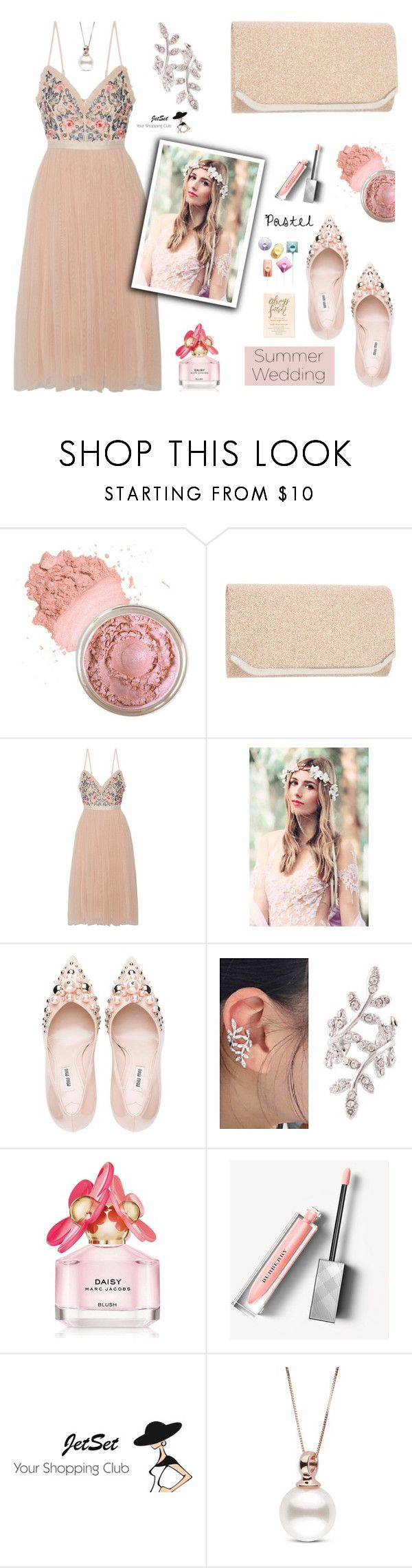 """Say I Do: Summer Weddings, JetSet!"" by samra-bv ❤ liked on Polyvore featuring Needle & Thread, Miu Miu, Marc Jacobs, Burberry, Summer, bag, summerwedding, earrings and summervibes"