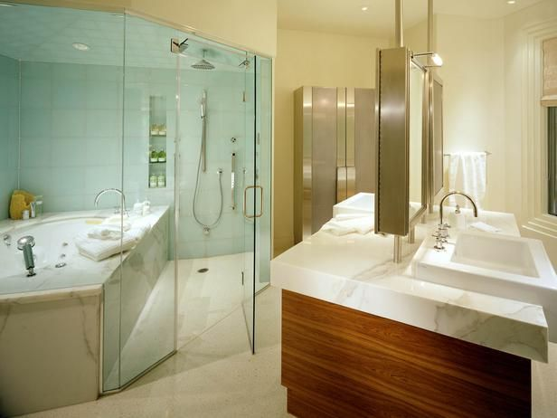 Wet room shower and tub combo...umm stay warm in the tub...