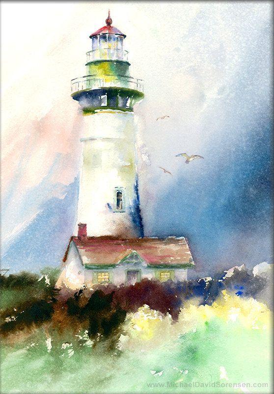 Newport Yaquina lumière - tête phare aquarelle humide sur humide peinture impression. Art de la côte de l'Oregon. Phare du Nord-Ouest du Pacifique. Bleu. Vert.