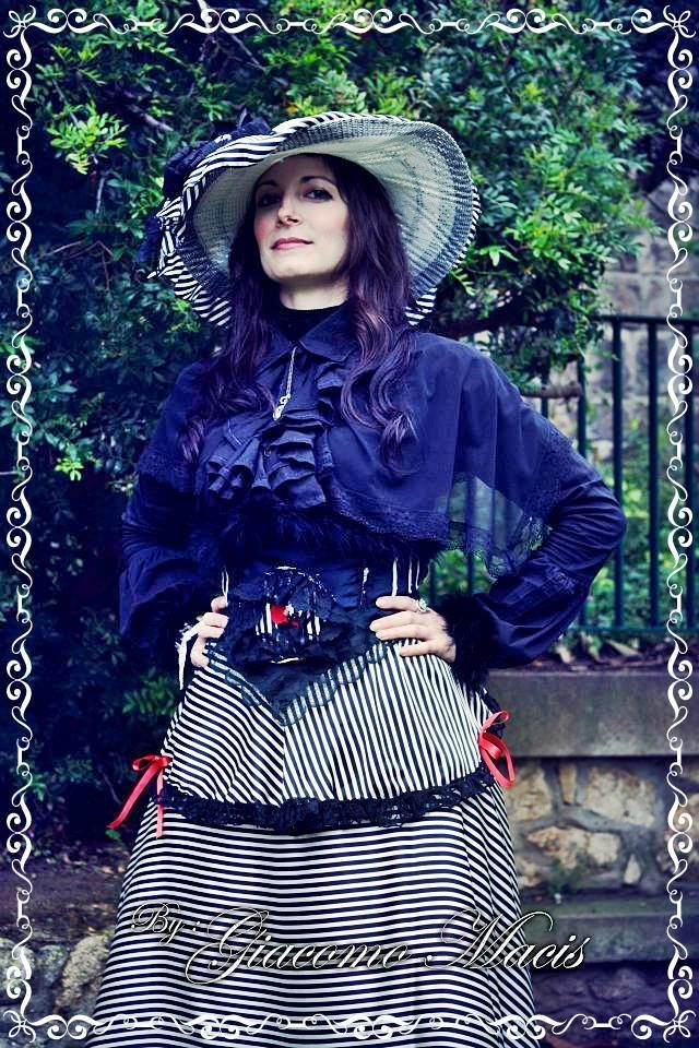 My Victorian dress black and white stripes