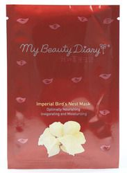 """My Beauty Diary Imperial Bird's Nest Mask.  Selling price: $1.50. 3 available. """"The mask is recommended for extremely dry skin to invigorate and enhance skin resilience.  Amino acids, collagen and polysaccharides can penetrate deeply into dry skin. Accompanied by natural plant extracts from oats, brown algae and maple sugar that hydrate, retain moisture and soothe. Centella asiatica, baobab tree pulp extract, hydrolyzed soy and rice protein essence soothe dryness, prevent skin from…"""