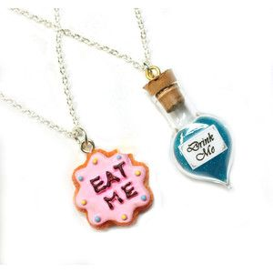 Alice in Wonderland Best Friends Necklace Set BFF Drink Me Eat Me Jewelry Cute, kawaii miniature food