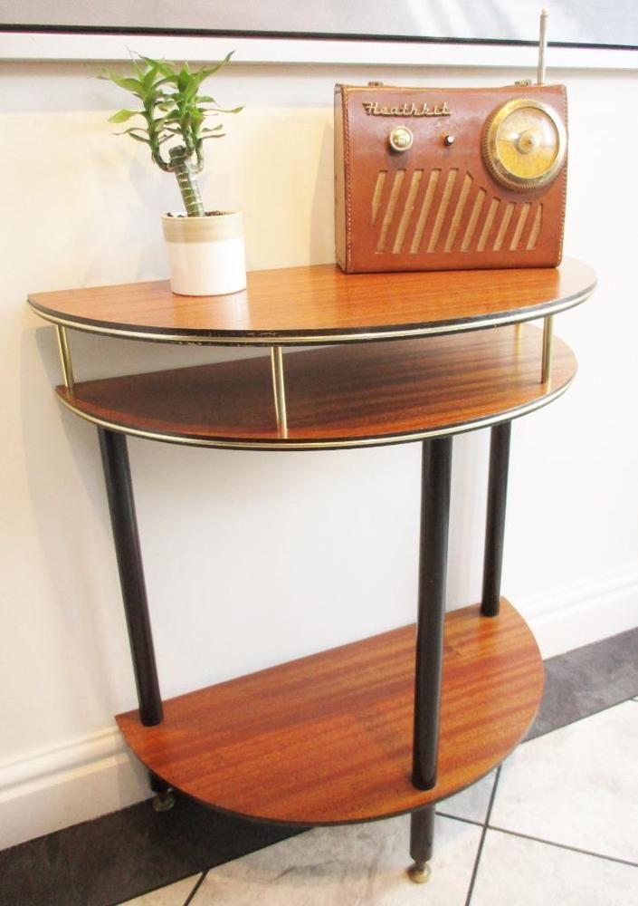 Vintage 1960 S Teak Semi Half Circle Demi Lune Side Table Bar Mid Century  Atomic