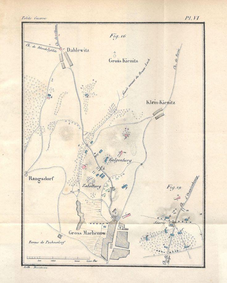 """Source : Decker, """"De la petite guerre"""" (1845), Planche VI, citée par ex. p. 272, pour la fig. 16. Se rapporte au livre troisième, chap. II, 2. Petites reconnaissances."""