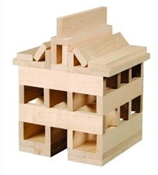 """Each one of these Keva Plans are identical sized, but are unique in the grain of the maple wood. Beautiful pieces are wonderful to build countless buildings and structures. If you need other building ideas you can consult the included book that gives not only building suggestions, but also tips, projects, photos, and activities. These planks measure 4 1/2 inches long by 3/4 inche wide, and 1/4 inch thick. These are fun for ages 5 to adult. Great coffee table """"toy""""."""