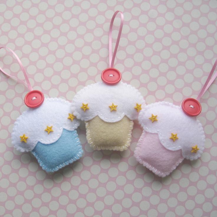 Trio of Handmade Felt Cupcake Decorations by ilovehearts on Etsy