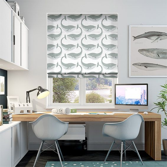 Whale of a Time Slate Roman Blind from Blinds 2go