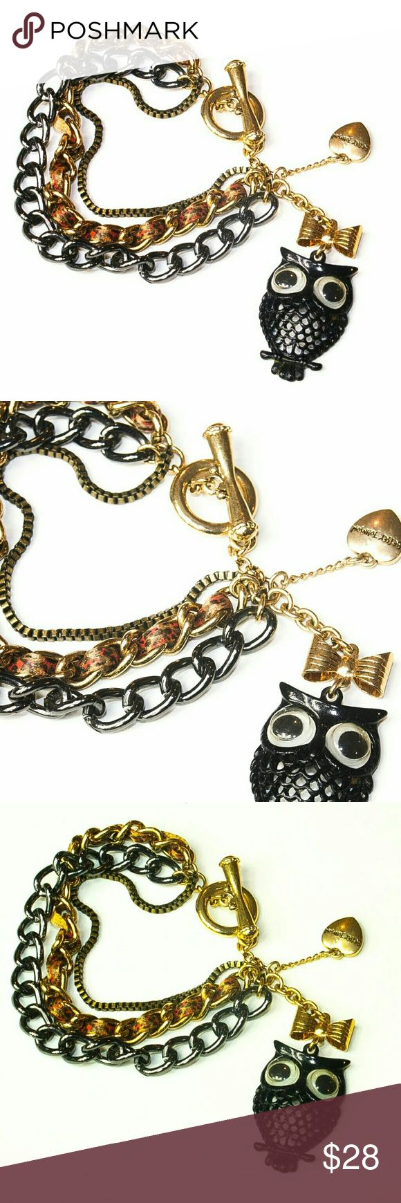 """Betsey Johnson Owl Bracelet Betsey Johnson Owl Bracelet.  3 styles of chain. Gold tone toggle closure.  Black owl charm is about 1.25"""" tall, and .75"""" wide. Fun piece.  Used item: any wear shown in pics.  Fantastic condition! Betsey Johnson Jewelry Bracelets"""