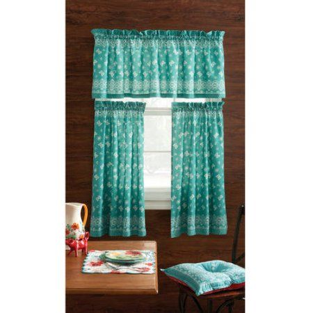 Pioneer Woman Kitchen Curtain and Valance Set, Assorted Patterns - Walmart.com