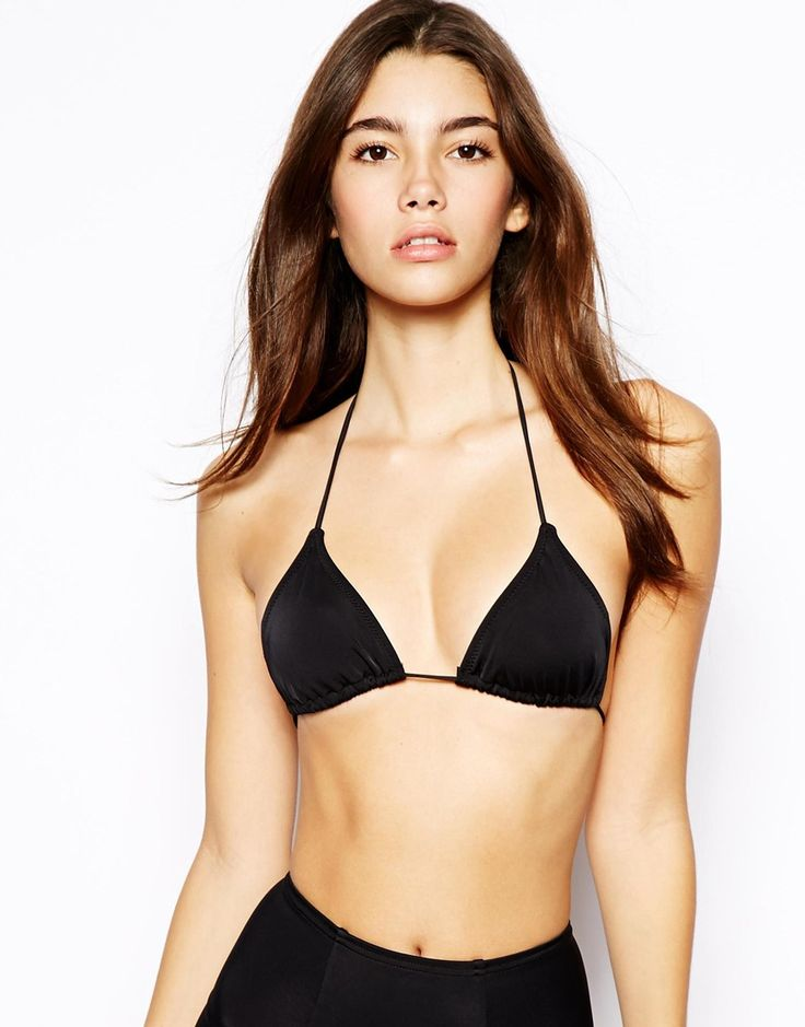 Triangle bikini top by ASOS Collection Soft sliding cups for adjustable coverage Soft handle cups Ruching under the cup Halterneck style Self-tie string fastenings for an adjustable fit