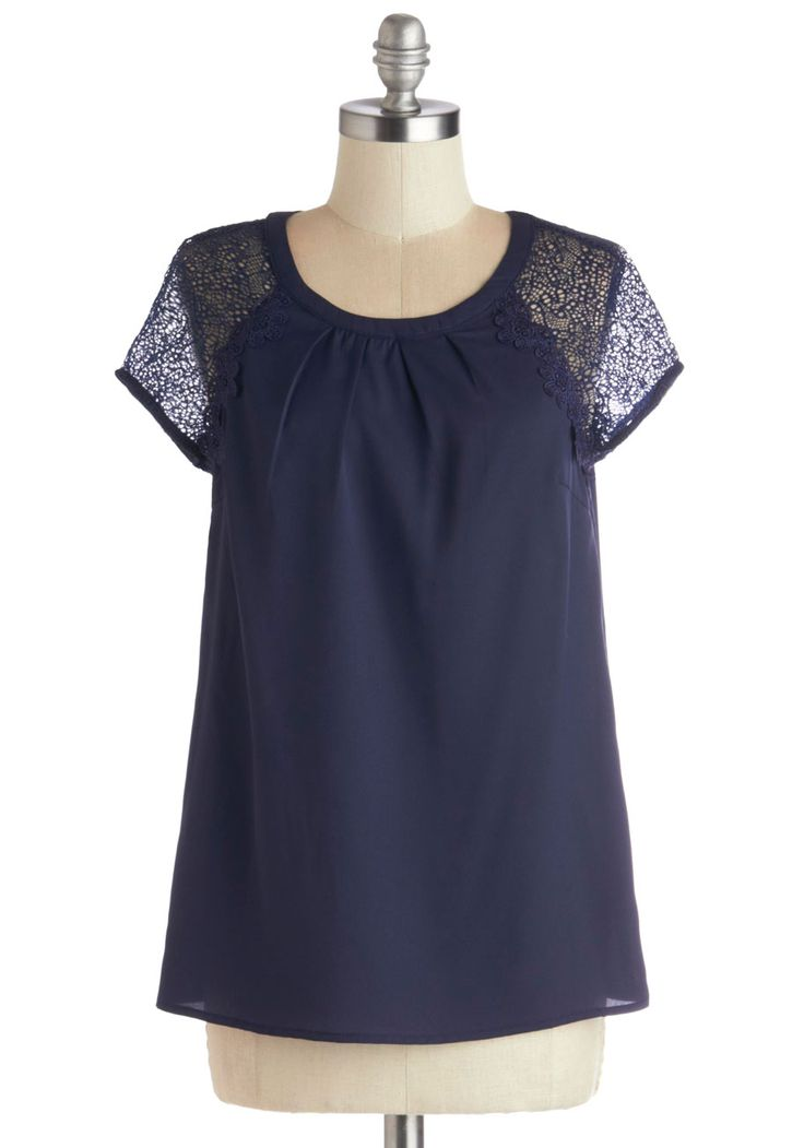Bookish Look Top. Sail through a fulfilling day of classes in smart fashion when you wear this navy blue top! #blue #modcloth
