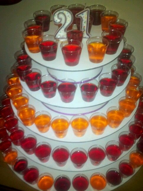 "Jello Shot ""Birthday Cake"" for a lucky lady's 21st birthday. NICE. Must try with our LED light up shot glasses: http://www.flashingblinkylights.com/light-up-products/lighted-glasses-for-drinks.html"