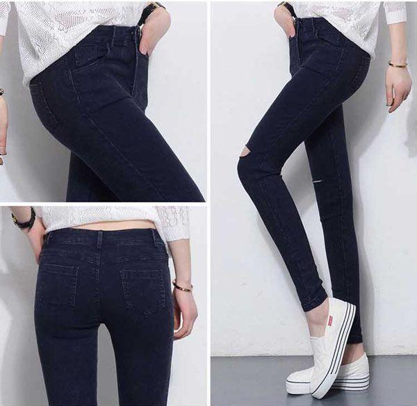 Celana Panjang Jeans Robek Wanita Online Terbaru B2844