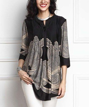 Look what I found on #zulily! Black Cloud Notch Neck Pin Tuck Tunic #zulilyfinds