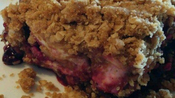 Saskatoon Berry Cream Cheese Crumb Cake