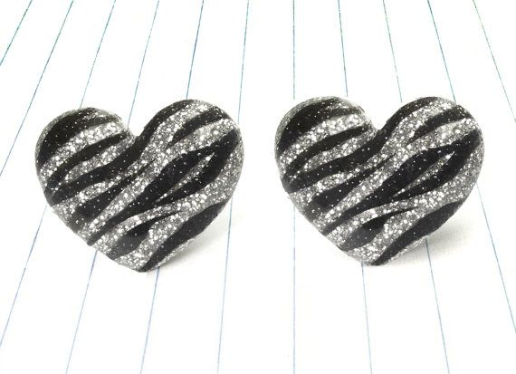 glitter zebra heart earrings - zebra earrings - zebra studs - zebra jewelry - zebra print - animal print earrings - animal print studs