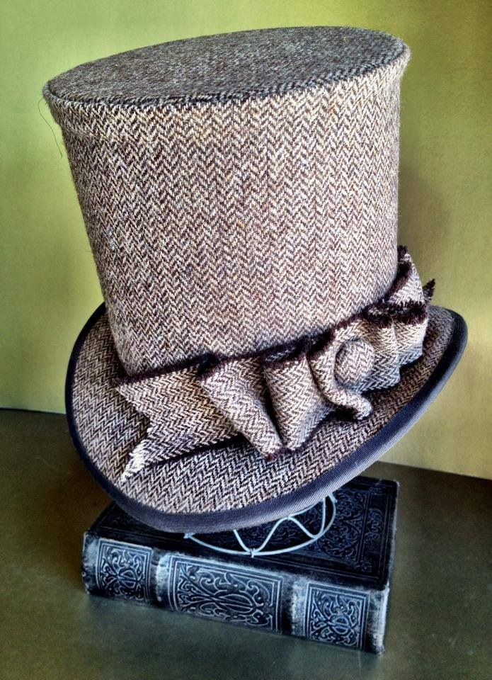 Custom tweed top hat. Lady Bird's Hatberdashery