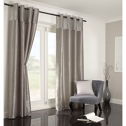 Home of Style Faux Silk Mink Curtains - 90 x 90in at Homebase -- Be inspired and make your house a home. Buy now.