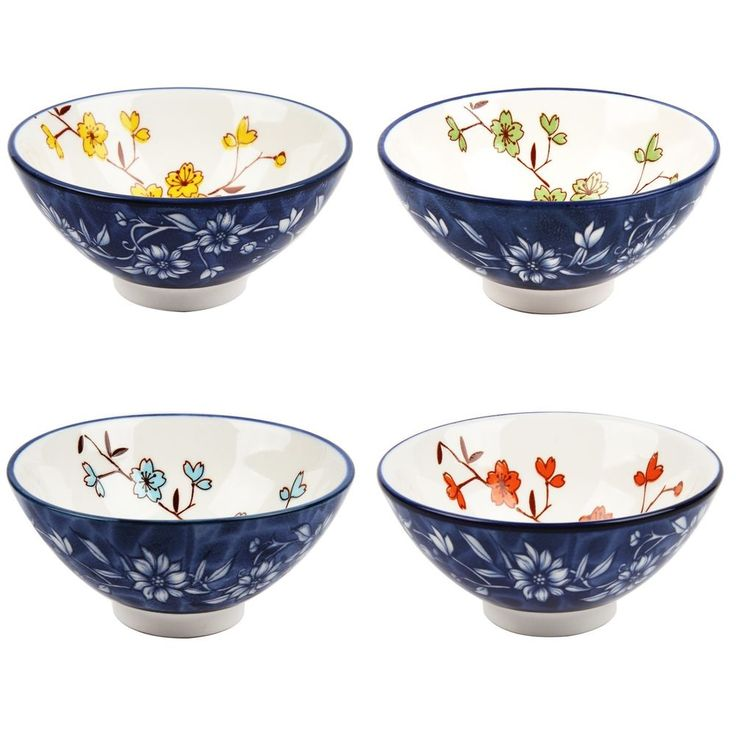 Porcelain Bowl Ceramics Pottery 4-Piece Rice Soup Bowl Tableware Dinner Bowl   #Hanyeoyo