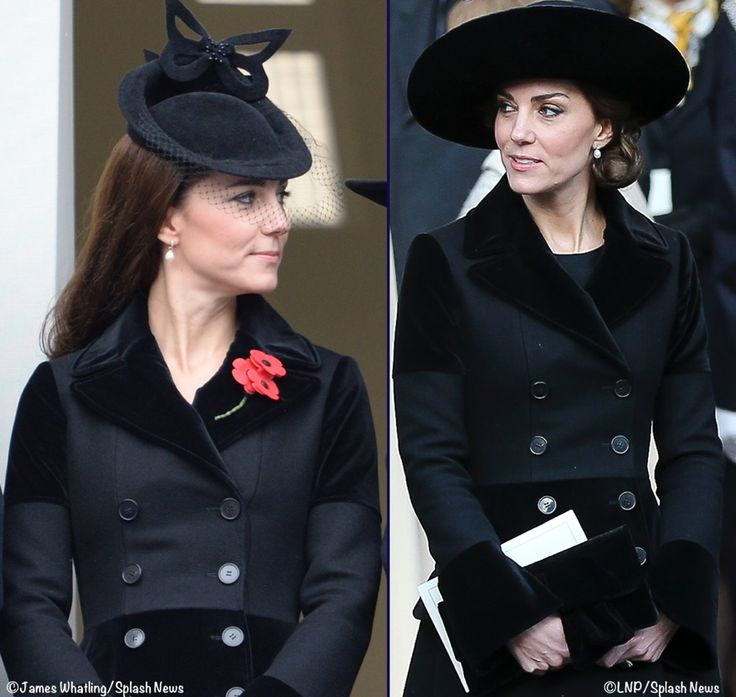 bespoke Alexander McQueen coat, first seen at Remembrance Sunday in 2015. On that occasion, the Duchess paired it with a hat by Sylvia Fletcher for Lock & Co.