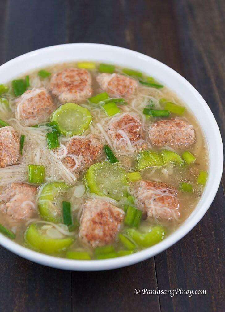 Pork Bola Bola Soup With Misua And Patola Panlasang Pinoy Recipe Pork Soup Recipes Pork Soup Filipino Soup Recipes