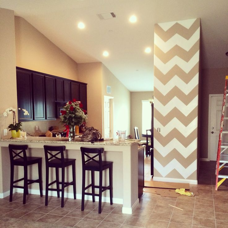 Chevron Accent Wall In Kitchen