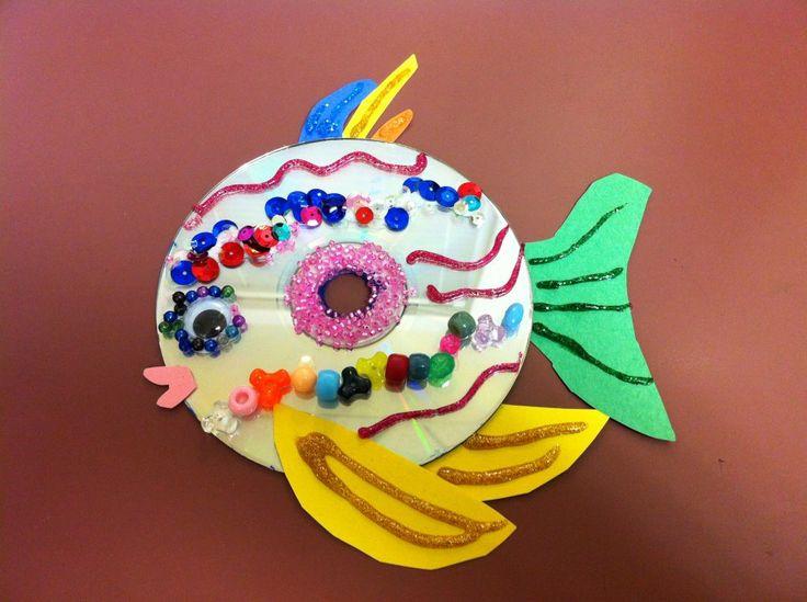 Cómo hacer un pez con un cd realizando manualidades para niños