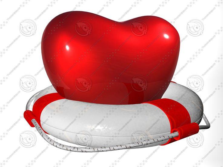 C4d Heart Lifebuoy - 3D Model