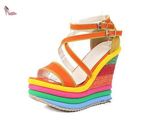 LvYuan Sandales d'été pour femme / Bureau & Carrière / Plateforme sexy / étanche / talon compensé / couleur mixte / boucle / style national de Bohême , Orange , CN39 - Chaussures lvyuan (*Partner-Link)