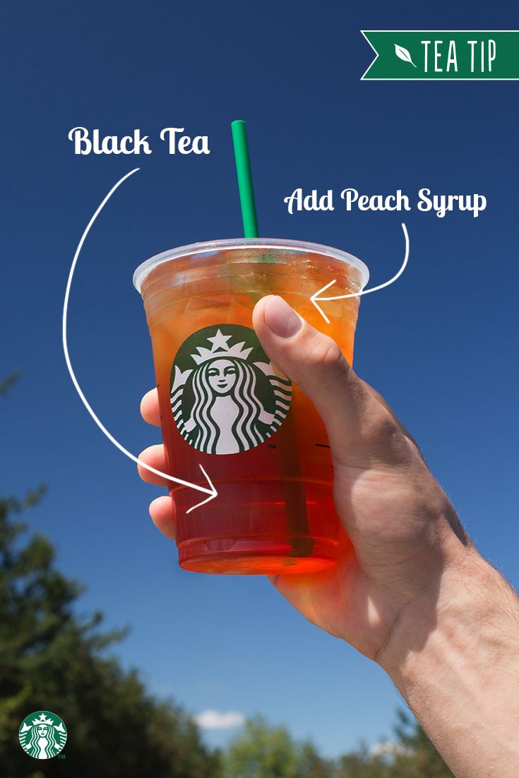 Sweet peach makes a perfect compliment to a glass of bold, iced black tea. For this Tea Tip, ask your Starbucks barista to add peach flavor to your Teavana Shaken Iced Black Tea and enjoy!