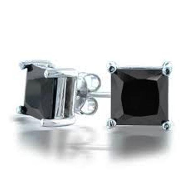 Fiery 1 50 Tcw Natural Black Diamond Stud Earrings Princess Cut