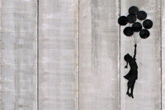 Flying Balloons Girl by Banksy. Flying Balloons Girl, painted on a wall on the West Bank in Israel, is a poignant yet subtle piece. The image hearkens back to one's childhood idealism, the dreams of a child who wishes he could fly and float away as if lighter than air.  the desire for freedom