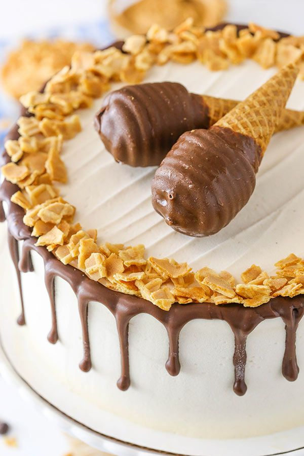 This Peanut Butter Chocolate Ice Cream Cone Cake is made with a layer of peanut butter cake, chocolate and waffle cone pieces, and Blue Bunny PB 'N Cones Ice Cream. The flavors are delicious and the overall cake is so …
