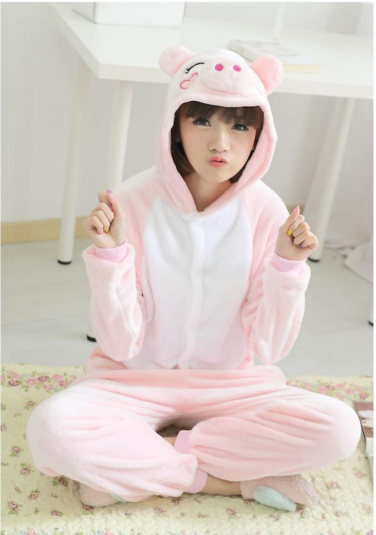 Flannel family animal pajamas one piece onsies onesies cosplay pink pig cerdo pigiama pyjama pijamas enteros de animales
