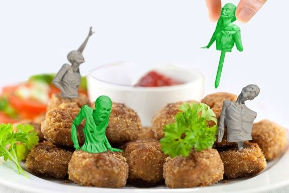 Food Zombies, Reusable Plastic Toothpicks Shaped Like the Undead Emerging From Their Graves