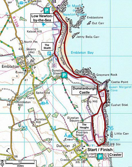 The second of our top 10 UK walks takes you from Craster to Low Newton in Northumberland. Photograph: Ordnance Survey