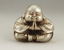 Elaborate Chinese Buddhism Tibetan silver Young monk Maitreya Buddha Statue(China (Mainland))