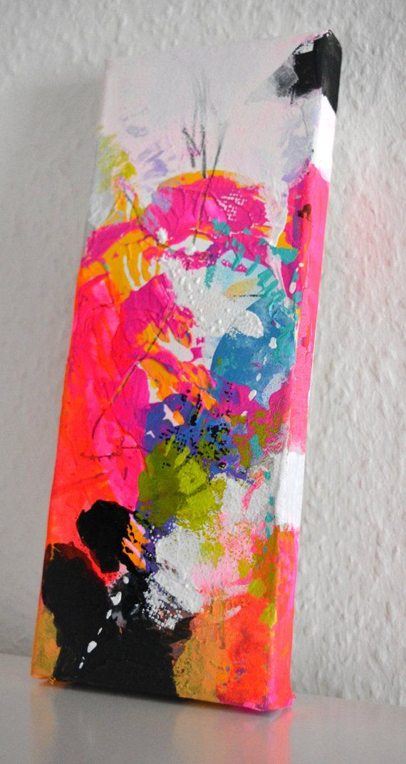 Original small abstract painting on canvas mini