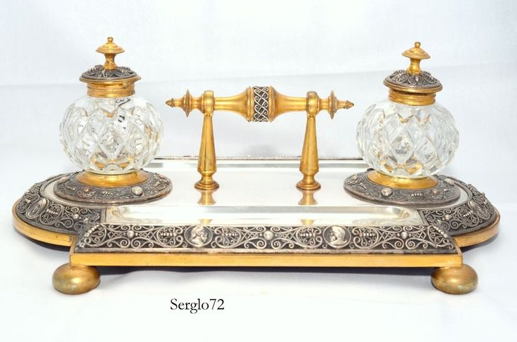Rare Antique Silver Plated Brass & Iron Inkstand Inkwells Desk Set c1890